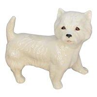 English Porcelain Dog Figurine Vintage 20th Century.