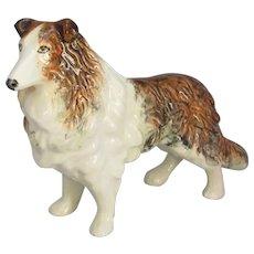 British Porcelain Dog Figurine. Vintage 20th Century.