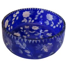 Bohemian Blue Overlay Engraved Glass Bowl Antique c1900.