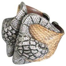 Artisan Made Snake Head & Snakeskin Bangle Contemporary