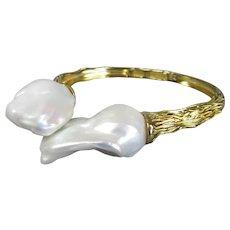 Gold Vermeil & Baroque Pearls Bangle Contemporary