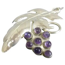 Amethyst in Sterling Silver Grape Vine Brooch Vintage