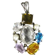 Semi Precious Gemstone Set Silver Pendant
