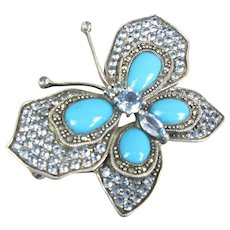 Sterling Silver Butterfly Pin Set With Turquoise & Aquamarine Contemporary