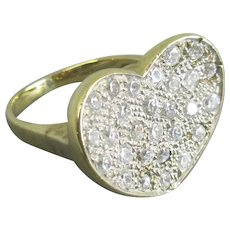 9k Gold Heart Shaped Faux Diamond Ring Contemporary