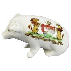 Gemma Crested China Souvenir Pig Vintage c1930