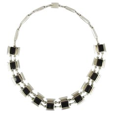 Mexican Silver & Black Onyx Necklace Contemporary