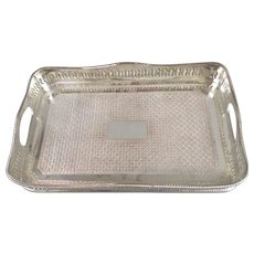 Silver Plated Retangular Tray Edwardian English 1910