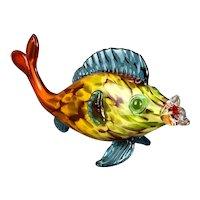 Italian Murano Glass Multicolored Fish Sculpture Vintage c1980