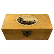 Miniature Maucheline Pine Box from Bexhill On Sea Antique Victorian c1890