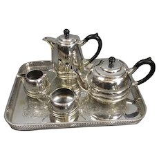 Sheffield Plate Tea Set On Silver Plated Tray Vintage c1940