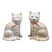 Matched Pair Of Rye Pottery Cat Figurines Contemporary c2003