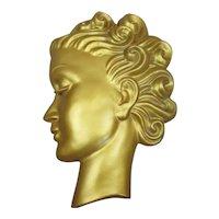 Gilded Chalkware Lady's Head Wall Plaque Art Deco c1930