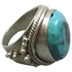 925 Silver & Turquiose Ethnic Indian Ring Vintage UK-U / US-10