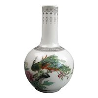 Chinese Bottle Vase Peacock & Blossom Painted Vintage Mid Century c1960