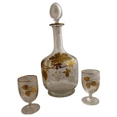 French Glass Liquor Decanter With Two Glasses Hand Painted Gilding Antique c1890