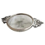 English Sterling Silver And Glass Butter Dish Antique Birmingham 1900