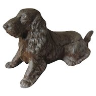 Painted Cast Metal Spaniel Dog Table Lighter Antique c.1900.