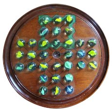 Antique Edwardian English Mahogany and Marbles Solitaire Board c.1900