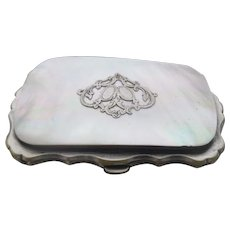 French Mother of Pearl and Silver Ladies Evening Penny Purse Antique Victorian