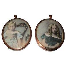 Miniature Copper Frames With Suede Backs Antique