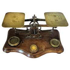 English Antique Late Victorian Brass Postal Scales