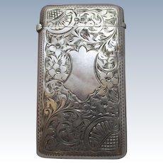 Sterling Silver Ornately Engraved Card Case Antique Edwardian Hallmarked Birmingham 1907.