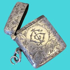 Engraved Sterling Silver Vesta Case Birmingham Antique c1900.