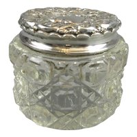 Sterling Silver And Cut Glass Dressing Table Jar Antique Edwardian London 1904.