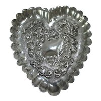 Heart Pin Tray Sterling Silver Antique Edwardian 1908 English.