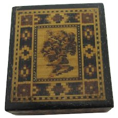 Tunbridge Ware Stamp Box Antique Victorian c1860.