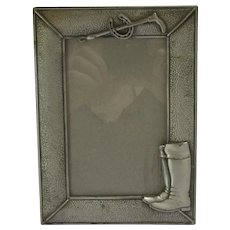 Horse Riding Crop & Boots White Metal Photo Picture Frame Vintage