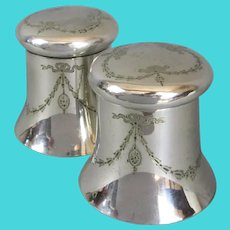 Pair of Silver plated Lidded Containers Atkin Brothers Antique c1920