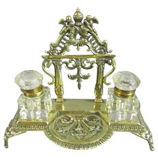 Brass & Cut Glass Ink Stand Antique c1890