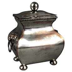 Silver Plate Over Copper Tea Caddy Antique Victorian c1880