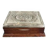 Sterling Silver Topped Wood Box by RBB Sheffield Victorian Antique c1860