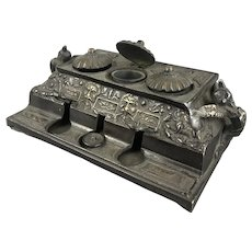 Ornate Bronze Ink Well Stand Antique Victorian c1900