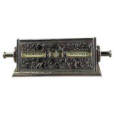 Stain Steel Desk Calendar Antique Art Nouveau c 1910