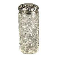 Sterling Silver Cut Glass Dressing Table Jar Miller Bros Victorian Antique Birmingham c1901