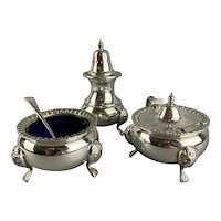 Set Of Three Silver Plate Salt Mustard And Sugar Caster With Blue Glass Vintage c1950