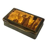 Faux Tortoiseshell Pill or Snuff Box Antique Victorian c1850