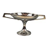 Walker & Hall Silver Plate Fruit or Bonbon Bowl Dish with Geometric Handles Antique Art Deco Sheffield c1920