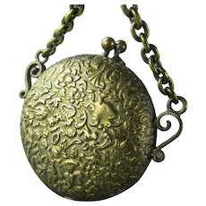 Small Gilt Metal Floral Design Coin & Stamp Purse Antique Victorian c1870