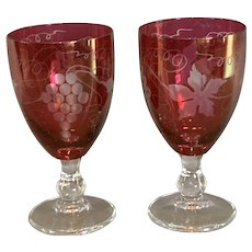 Pair Of Bohemian Ruby Wine Glasses Antique Art Deco Period c1920