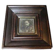 Miniature Etching 'Portrait Of Gentleman' Antique Victorian C1890.
