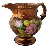 Small Antique Georgian Copper Lustre Jug with Pink Roses