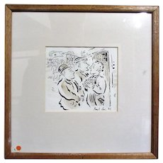 Vintage Paul Cox RCA Pen and Ink Book Illustration from Dylan Thomas 'The Outing' 1985