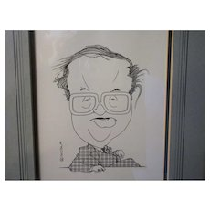 Framed Original Pen & Ink Caricature By Nicola Jennings 'John Mortimer'.