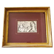 Framed Vintage Pen & Ink Drawing 'Princess of Kensington' by JS Goodall for Radio Times c1938.