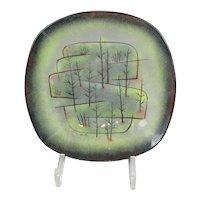 Modernist Art Glass Plate Maurice Heaton Vintage Mid Century c1960